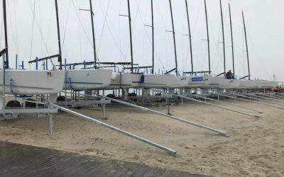 RS Elite dry sailing from the beach at HISC