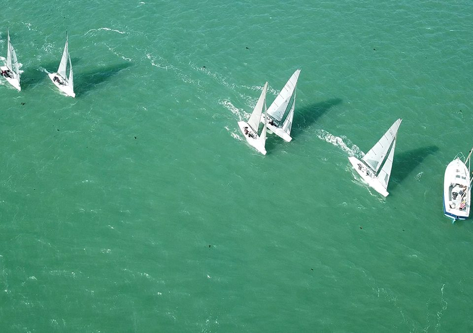 Drone footage of RS Elite Sprint Racing at Hayling Island SC